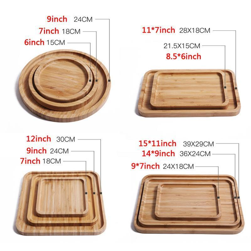 라운드 스퀘어 나무 접시 요리 스시 플래터 접시 디저트 비스킷 접시 차 서버 트레이 컵 홀더 패드 (12 개) 크기 사용자 정의 플레이트
