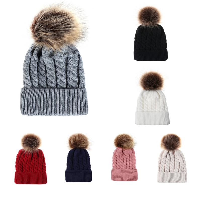 Baby Hat Caps Winter Newborn Cute Winter Kids Baby Hats Knitted Wool Hemming Hat Dropshipping