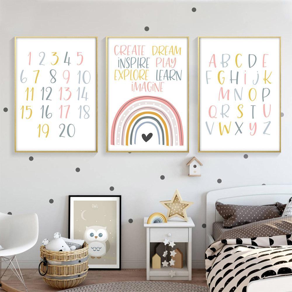 Número alfabeto pintura da lona Nursery Art Impressão da parede rosa Poster do arco-íris Nordic Education Recados imagem do bebê Crianças Room Decor