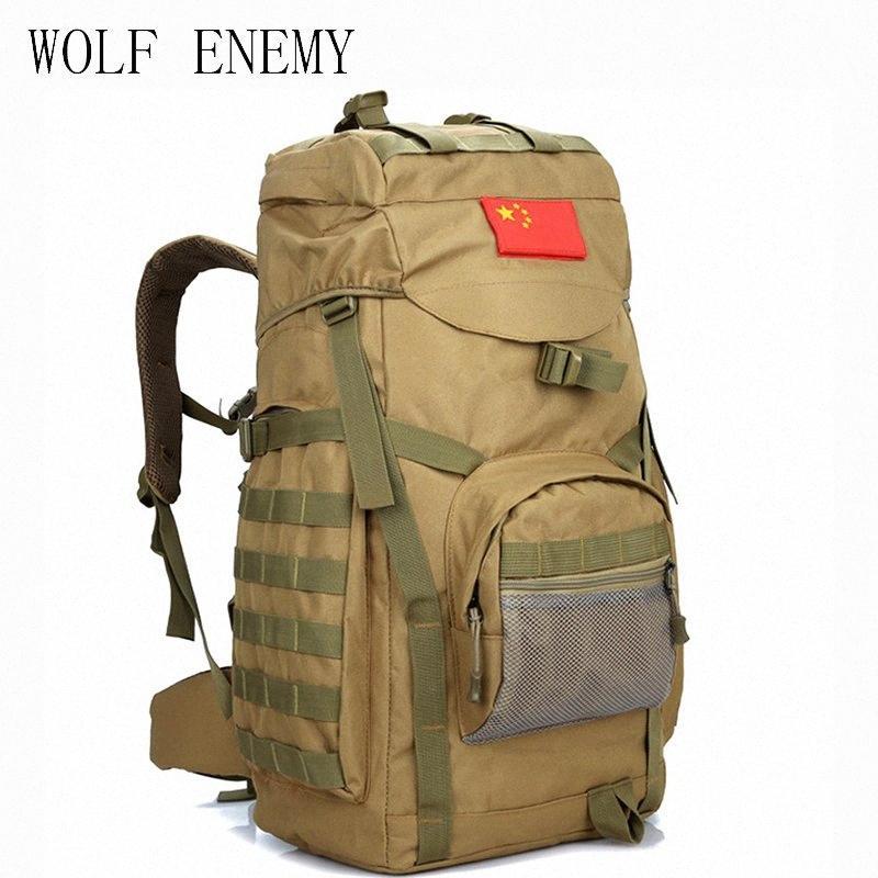 Molle 60L Camping Mochila Tactical Mochila Grande impermeável ombro Mochilas Camouflage Caminhadas Outdoor Saco liBd #