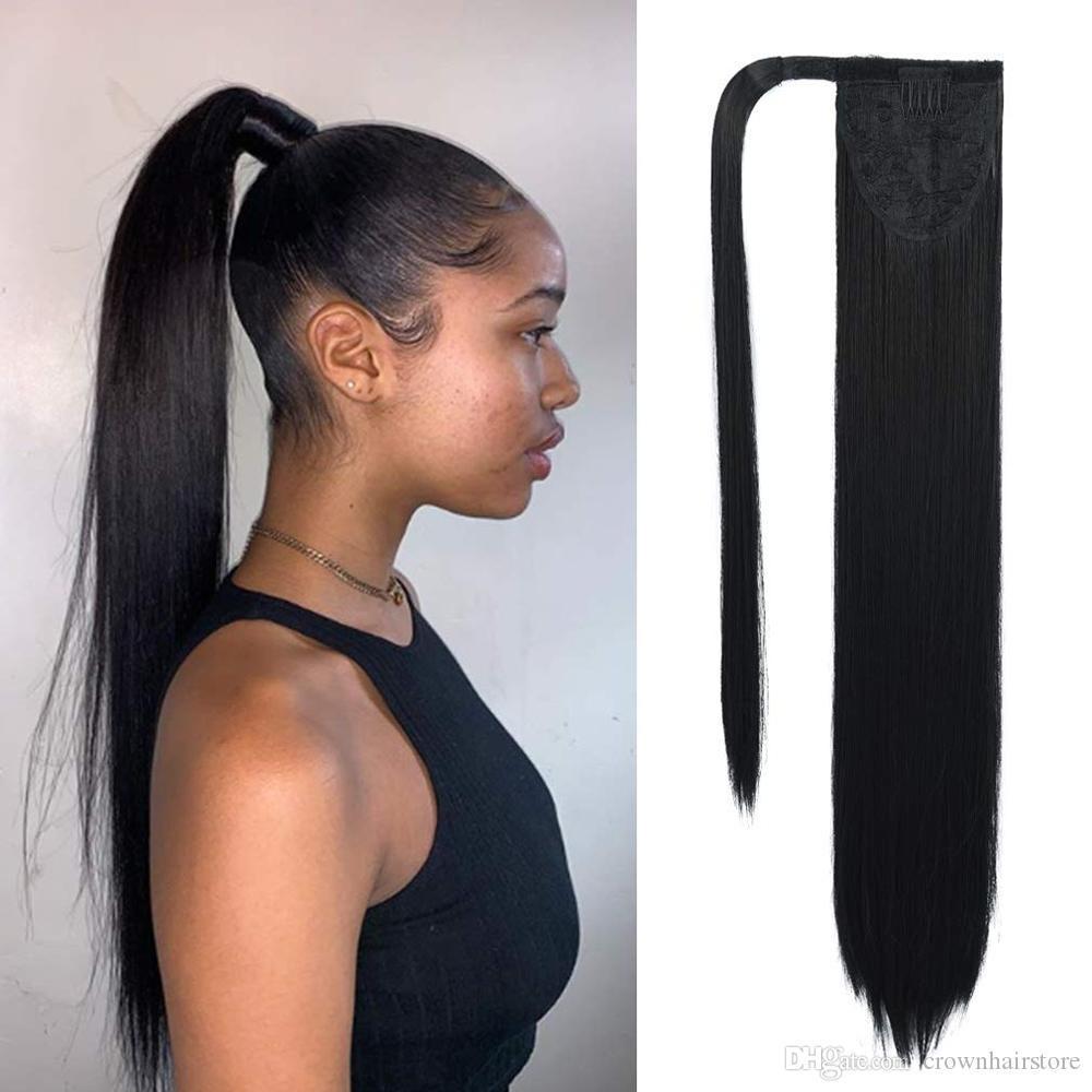 Clipe em Rabo de extensão Wrap Around reta longa cauda de pônei cabelo de 22 polegadas peruca sintética