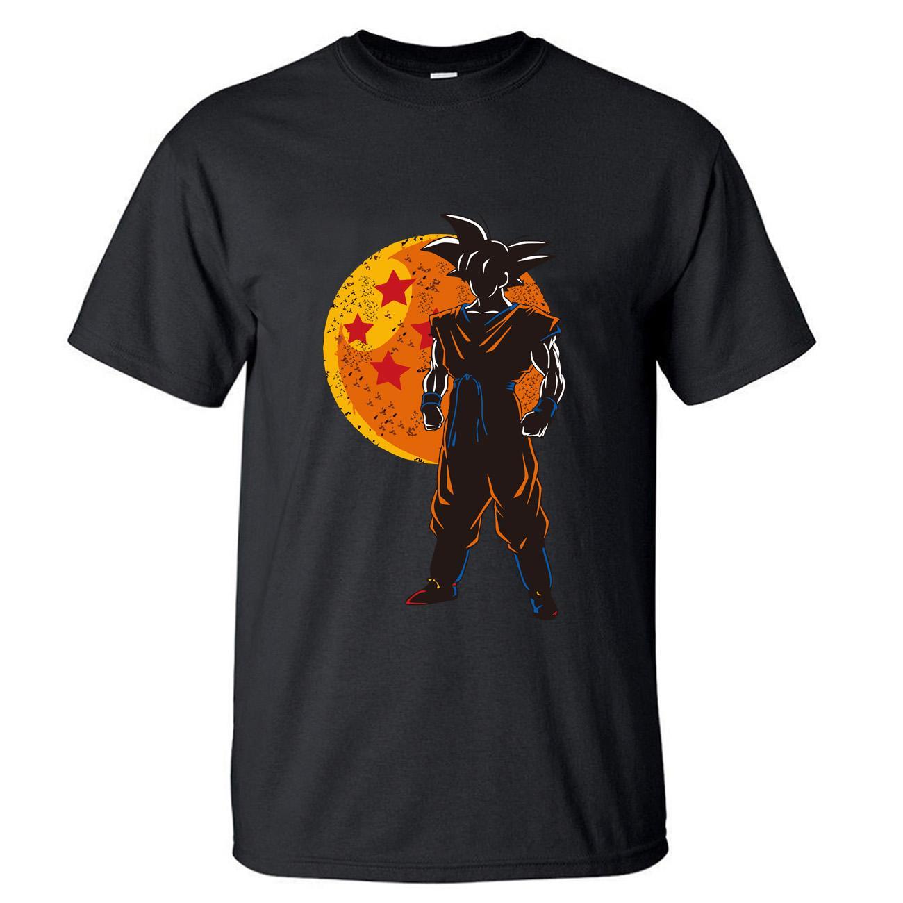 Dragon Ball Z T-Shirt Männer-T-Shirt Super Funny T-Shirts Sommer-Top Cotton Schwarz japanische Anime Short Sleeve Harajuku T-Shirt