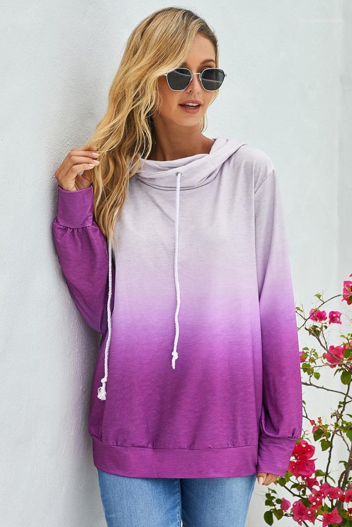 Womens Gradient Hoodies Sweatshirt Loose Pullover Long Sleeve Sport Hoodies Famale Fashion Clothes