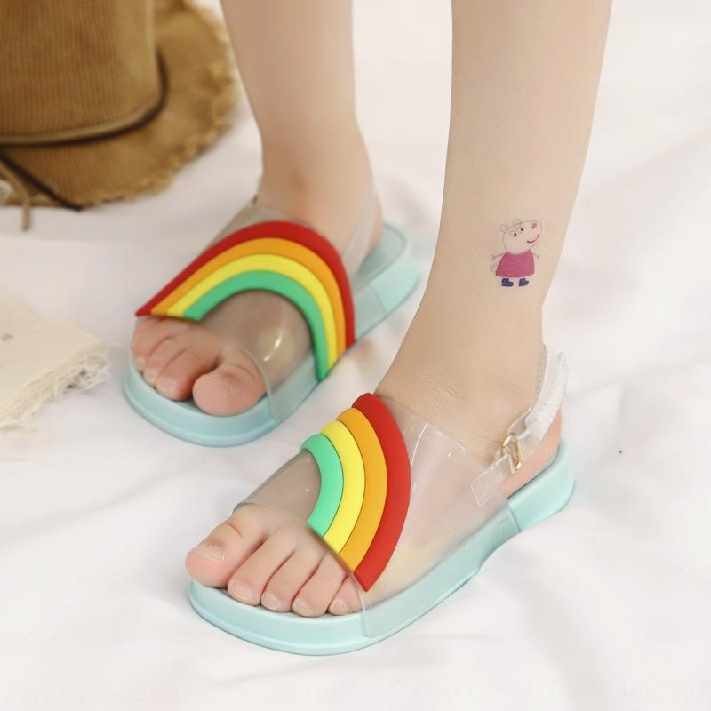 i7mJd 2020 new men's and women's single Slippers shoes Candy Rainbow Children's shoes soft sole toe-leaking fish mouth baby children's slipp