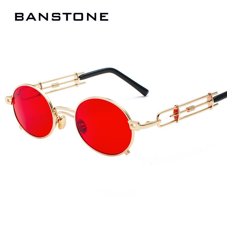 Quadro Banstone Homens de Metal Oval Steampunk gótico do vampiro Sunglasses Único Retro 1980 Sun Glasses Cosplay Styling Oculos De Sol