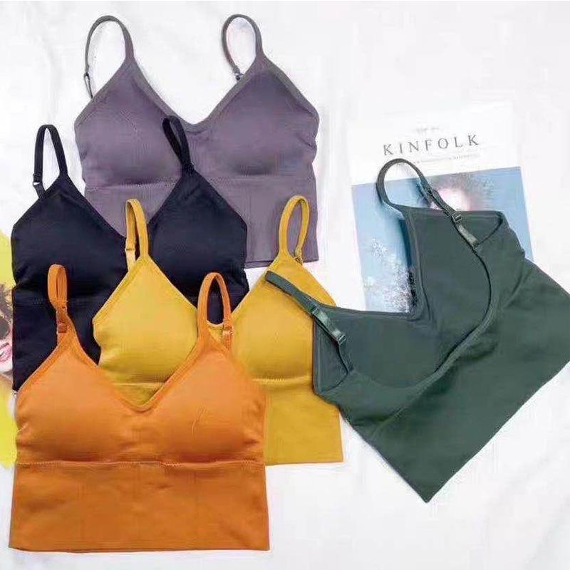 Linbaiway Seamless Lace Bra for Women Padded Brassiere Mujer Underwear Lingerie Wireless Sleeping Bras Vest Bralette Tube Tops