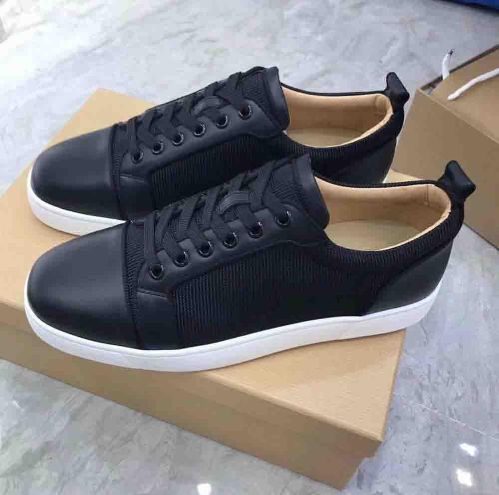 العلامة التجارية المتميز نموذج الأحمر نعال Orlato جديد المسامير الرجال شقق الأحمر أحذية القاع، أسود جلد العجل الأسود + نسج شبكة للرجال أعلى منخفض حذاء رياضة