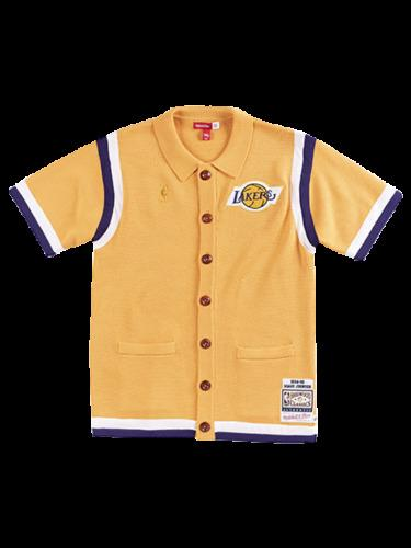 Ucuz Lakers Magic Johnson Mitchell Ness CLOT X Merinos Örme Atış Gömlek