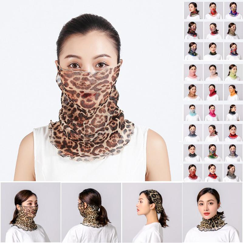 Silk Scarves Sunscreen Face Mask Summer Ladies Masks Outdoor Riding Face Cover Dustproof Head Wrap Neck Collar Solid Bandanas Turban