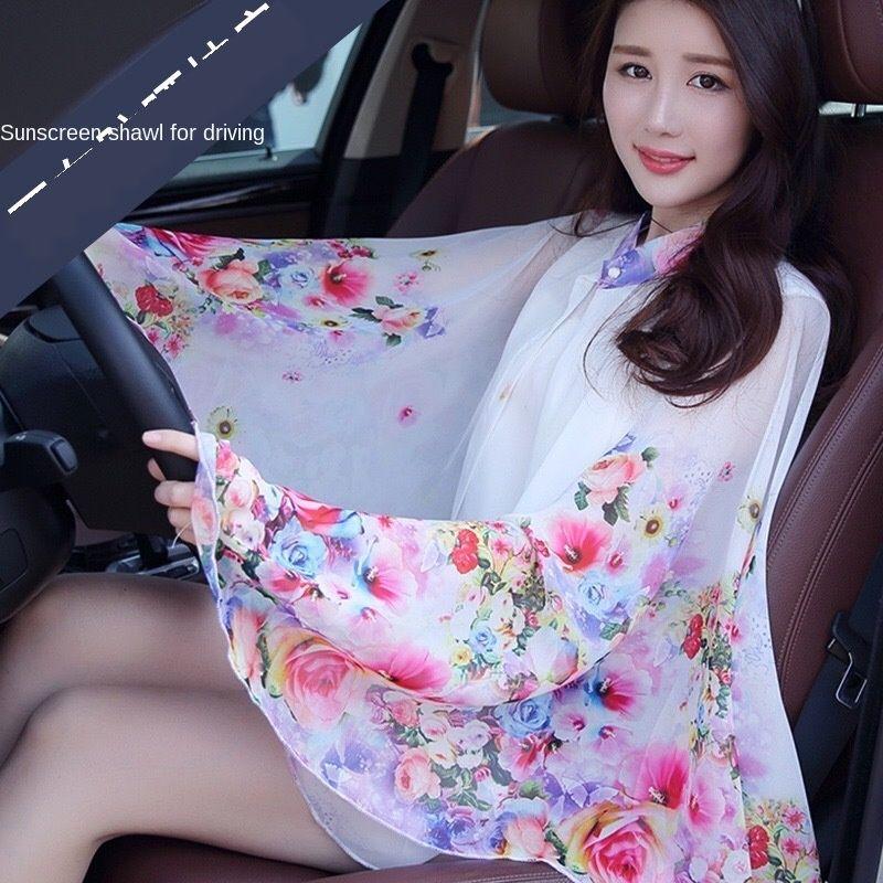 KSuiL лета новая одежда цветок вышивка шифон одежды вышитые солнцезащитный крем одежды солнцезащитный крем платок вождения езда рукав мульти-functi