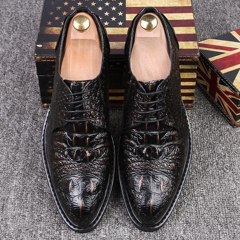 Мужская мода Crocodile Grain Leather Lace-Up платье Обувь Человек бизнеса Oxfords Mens вскользь венчание вождения Квартиры