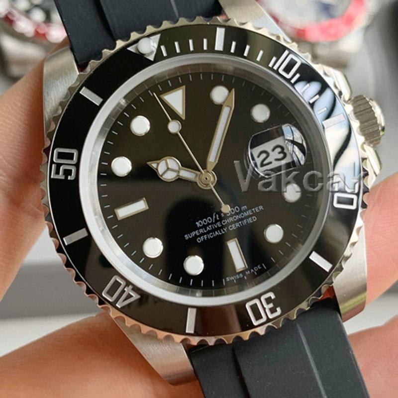 새로운 럭셔리 패션 세라믹 블랙 베젤 고무 망 기계식 SS 2813 자동 운동 시계 스포츠 남자 디자이너 시계 손목 시계