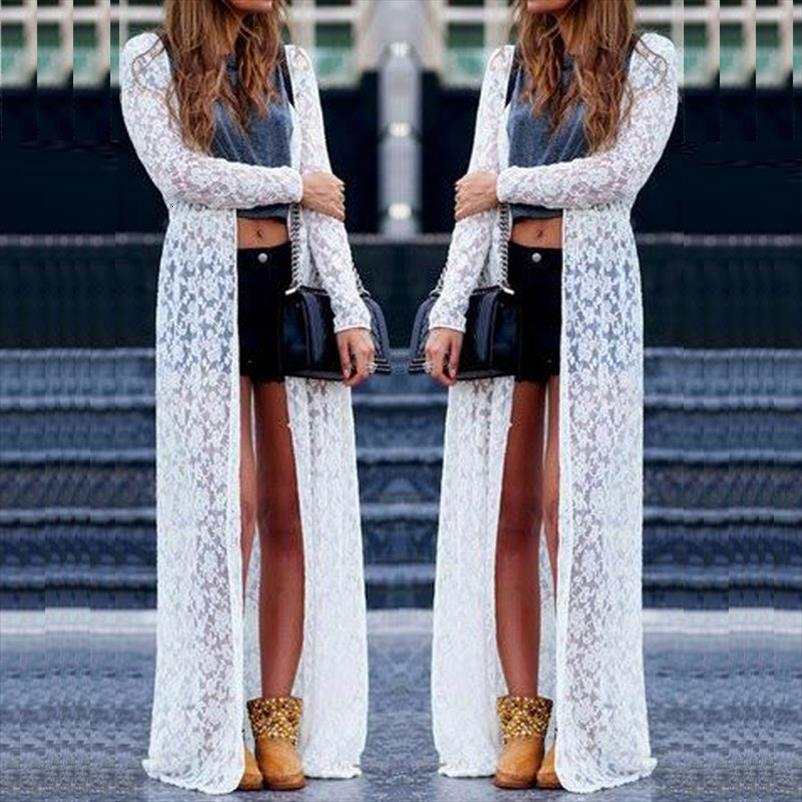 Damenmode Solide Frauen-Dame-Sommer-Langarm-Strand-Spitze Cardigan Bluse Long Tops Drop Shipping