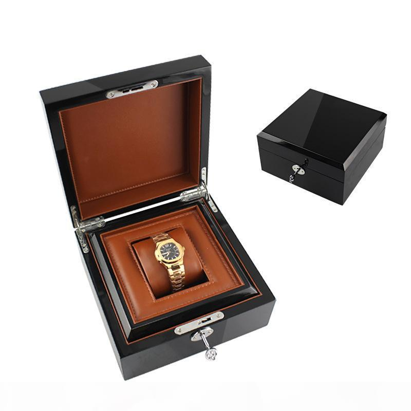 Часы Box Вуд без логотипа Металл замок Краска Марка Часы Подарочная коробка с PU Подушка коробки часы футляры