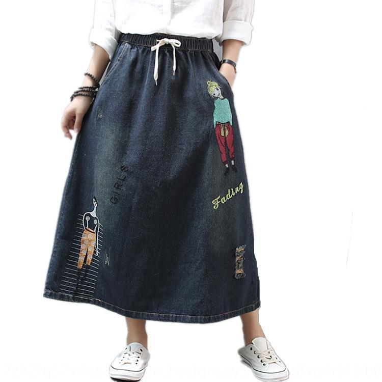 New Rockfrauen elastische Taille Spitzen-up Denim Aline Kleid Kinder dressEmbroidered Kleid bestickte Tasche lose beiläufigen Allgleiches