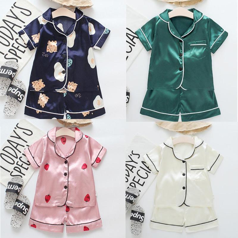 Kısa Kollu Çocuk Bluz Tops + Şort Pijama Pijama Çocuk Giysileri Bebek Pijama Setleri Erkek Kız Karikatür Geyik Baskı Kıyafetler Set Tasarımcı Set
