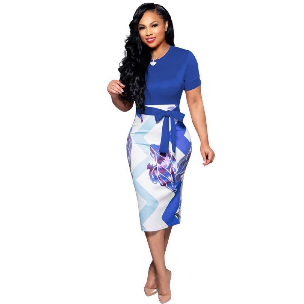 베스트셀러 여자 여름 드레스 꽃 섹시한 드레스 여성 패션 A 라인 O-목 짧은 소매 여성 드레스 여성 캐주얼