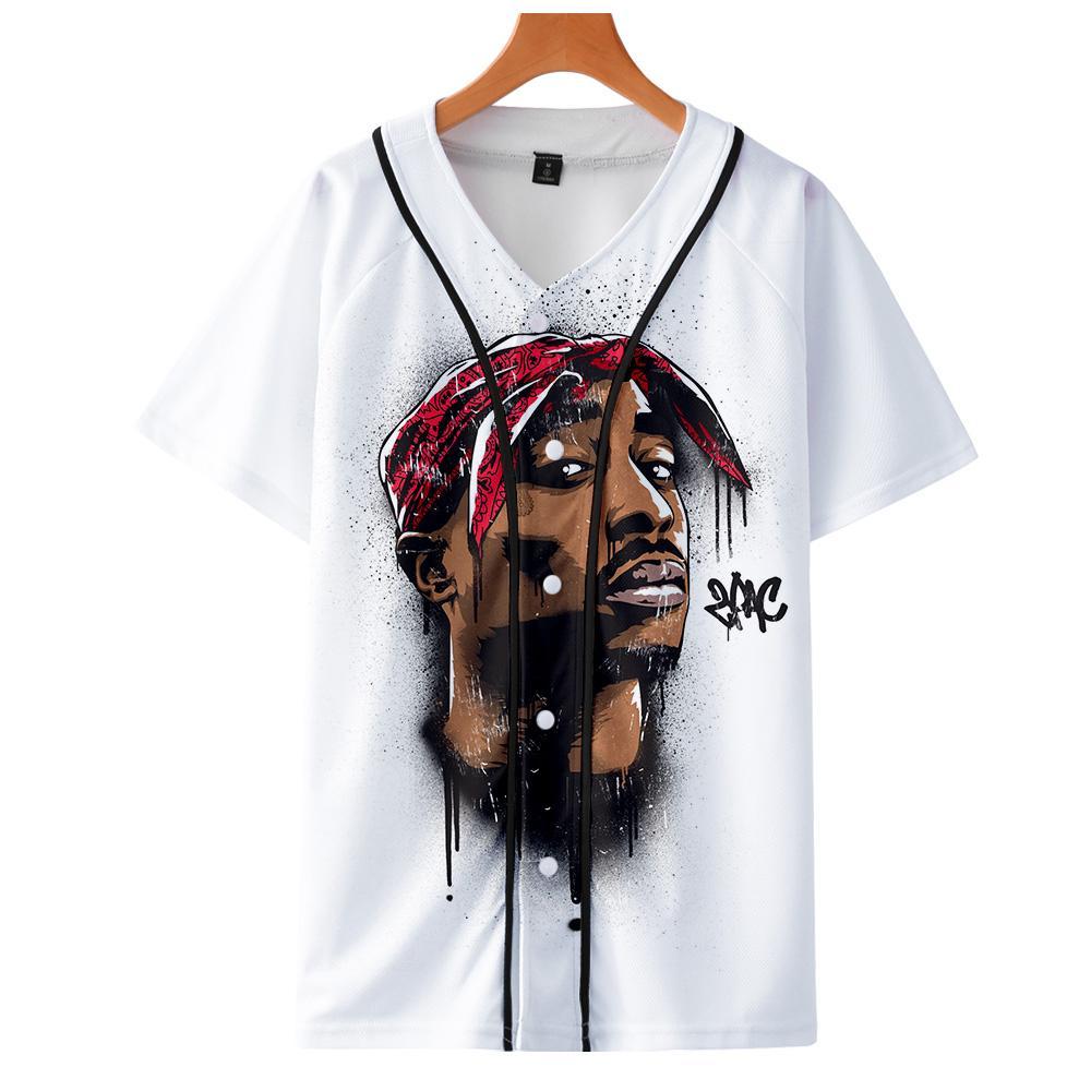 Мужчины Женщины 3D печати Tupac 2pac футболка с коротким рукавом O-образным вырезом Baseball рубашка Hip Hop Swag Harajuku Streetwear Дизайн Бейсбол Джерси SH190829