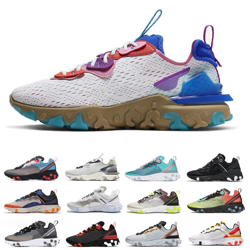 2020 Novos tênis Reagir visão elemento 55 87 para mulheres homens total Laranja real do matiz das mulheres dos homens desconto sapatos desportivos tamanho 36-45