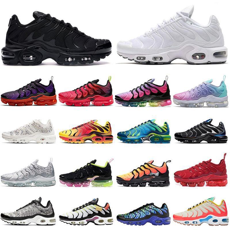 Kutu ile TN Plus Koşu Ayakkabıları Erkekler Kadınlar Üçlü Siyah Beyaz Kırmızı Pembe Rise Volt Kaya Çakılları Erkek Eğitmenler Spor Sneakers 36-46