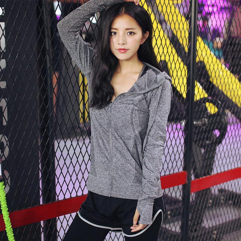 مرونة اليوغا معطف طويل الأكمام النساء سليم مش رياضة الجري سترات جاف سريعة الأسود زيبر للياقة البدنية وبلوزات
