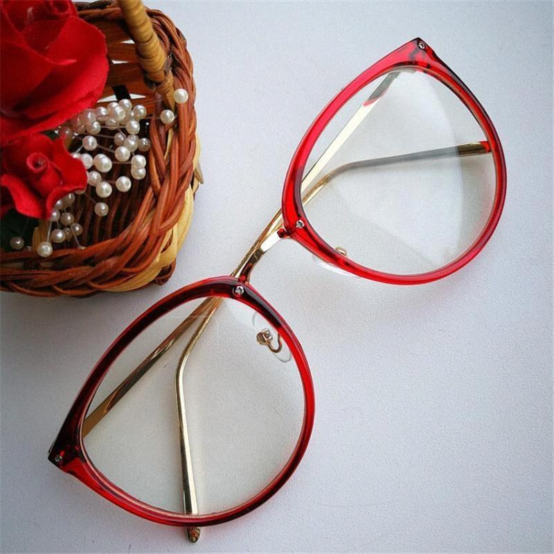 Optische Transparente Glas-Frauen Myopie Brillen Frames Metall Brillen klare Linsen Damenbrillen TxwQ #