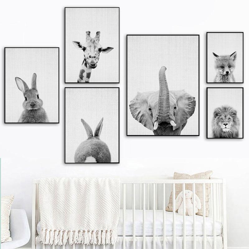 Черный и Белый слон Лев Кролик Wall Art Холст Плакаты и печать Минималистский животных Картина изображения Современный Home Decor