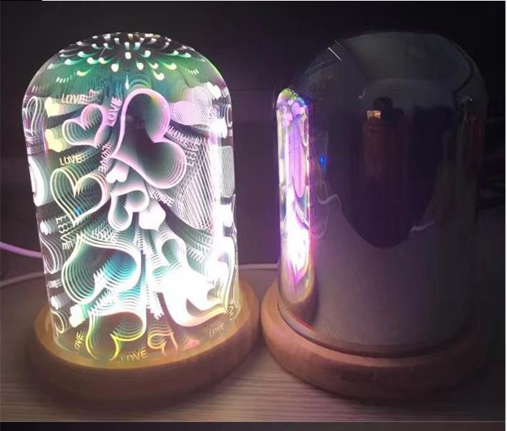 3D Magic Night Light Красочные стекла абажур Массивная гальванических LED Starry Night Head Атмосфера лампы для домашнего декора