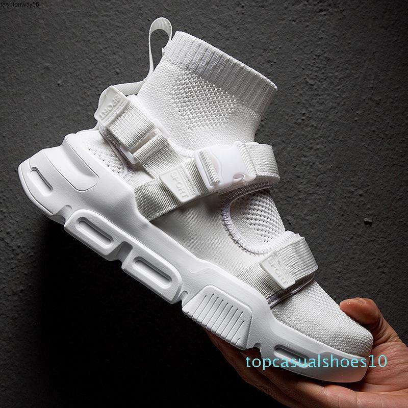 Обувь Hip Hop Мужчины Белых Кроссовки Повседневных Мужчины Тенис Sapato Пряжка Носок Мужчина для High Top папу кроссовок Basket Man обувь t10