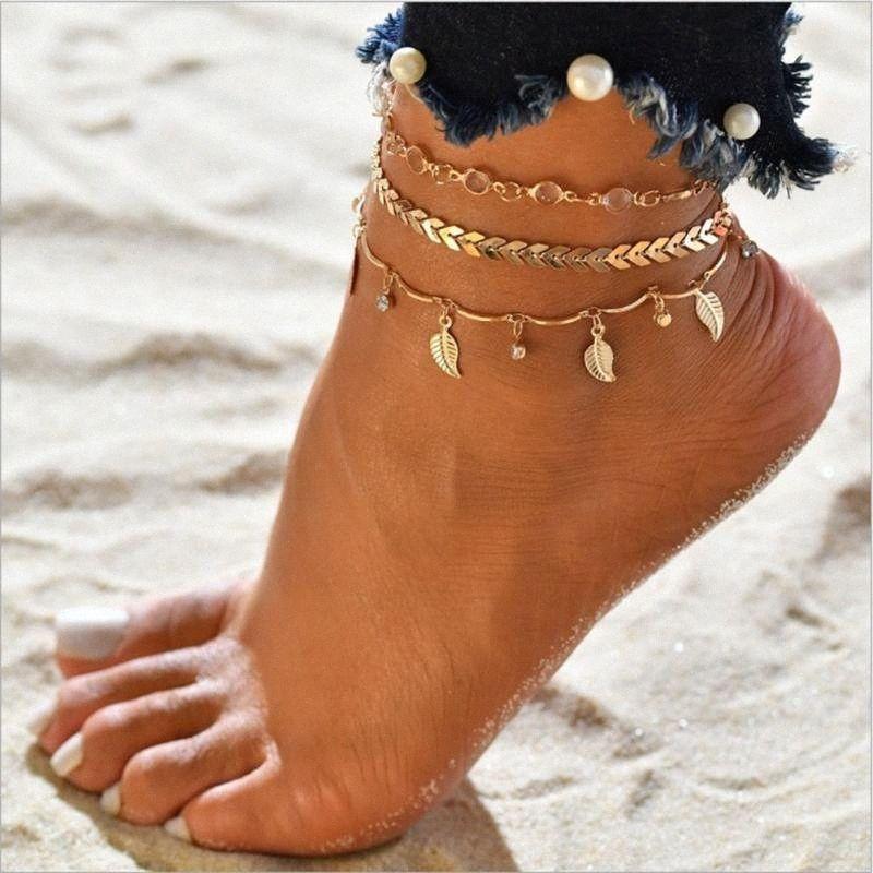 Bracelets de cheville simples pour les femmes de pied Accessoires d'été Barefoot Beach Sandales Bracelet cheville sur la jambe Bijoux Femme Mode GMHA #