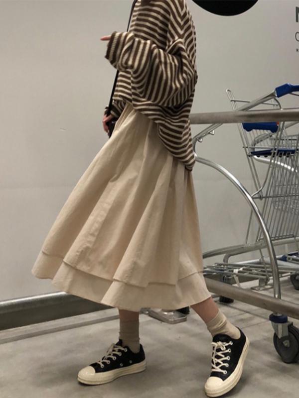 Femmes Jupe longue 2020 Mode Printemps vintage Jupes plissées dames élégantes taille élastique coréenne Noir SKIR