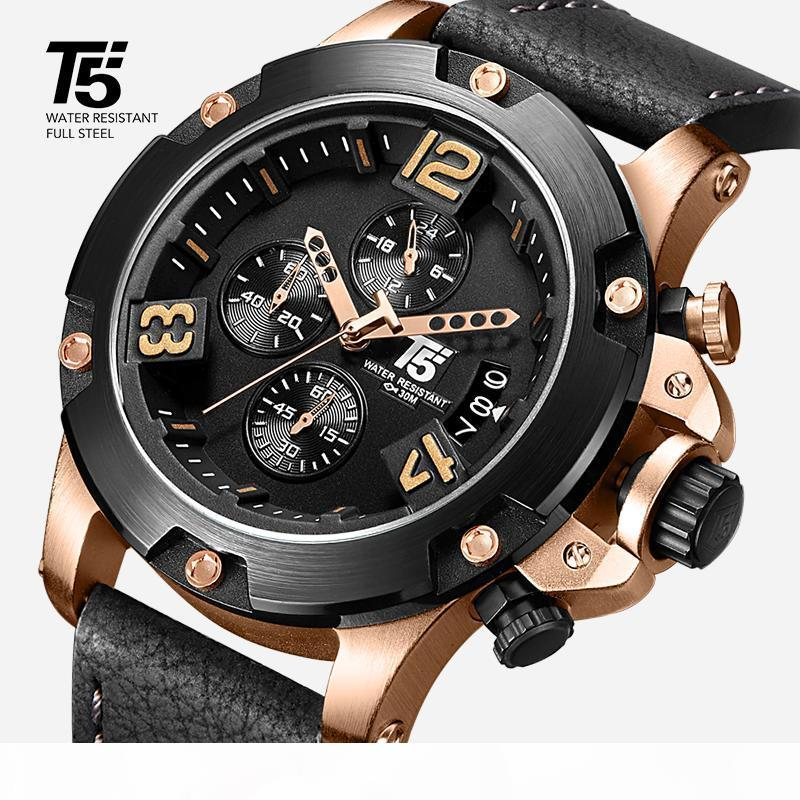 Rose gold Leather Strap T5 Black brand man Quartz Chronograph Waterproof Mens Watch Sport Watches Men Wristwatches