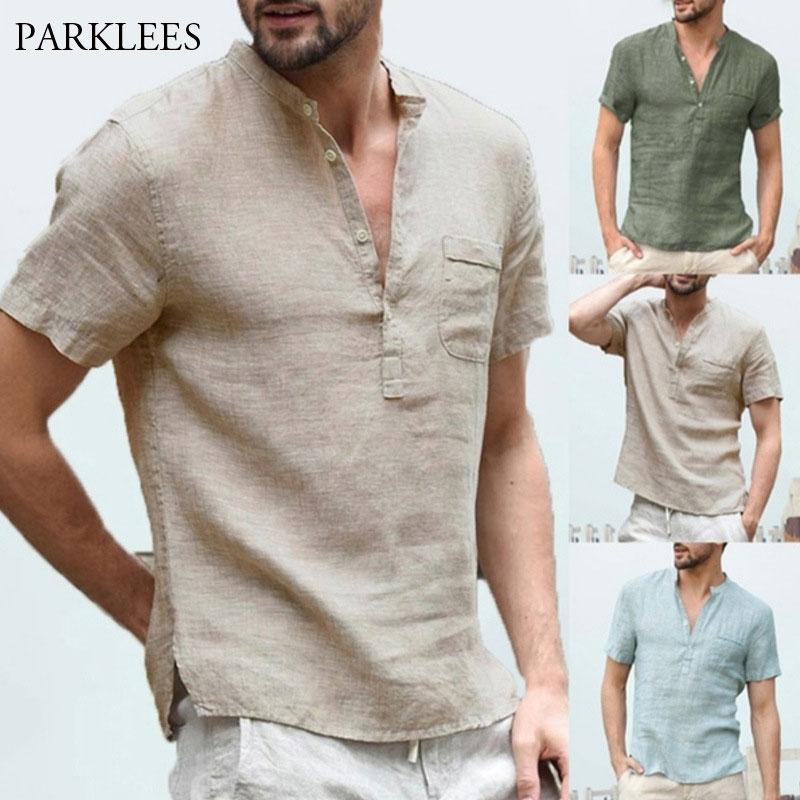 Pocket ile Keten Gömlek Erkekler 2020 Yaz Kısa Kollu Henley Gömlek Chemise Homme Gevşek Düğme Gömlek Nefes Katı Erkek Gömlek