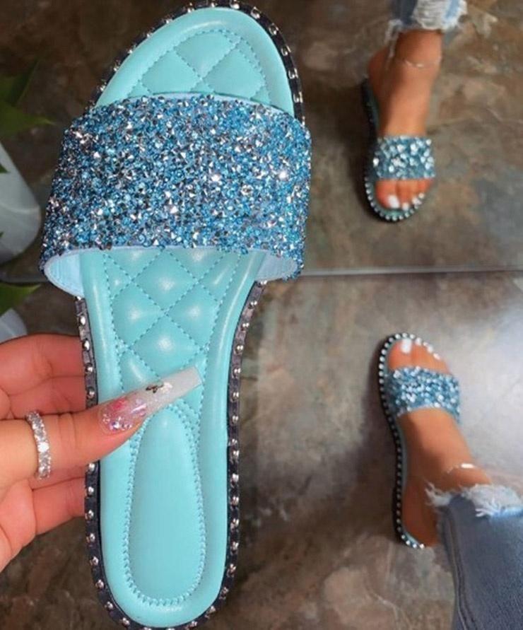 Сандалии Bling Блеск Слайды Женщины плоские сандалии мягкие резиновые пляжные тапочки Женская обувь Повседневная