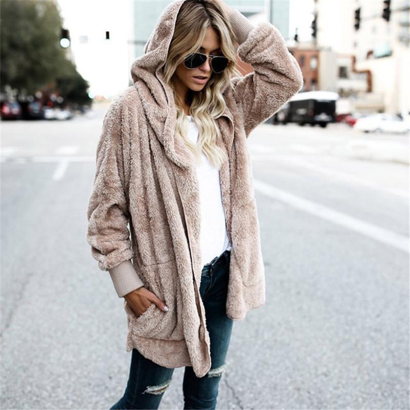 GRANDE S-5XL Faux Fur Orsacchiotto cappotto del rivestimento delle donne Moda Open Stitch inverno incappucciato cappotto femminile a maniche lunghe giacca Fuzzy