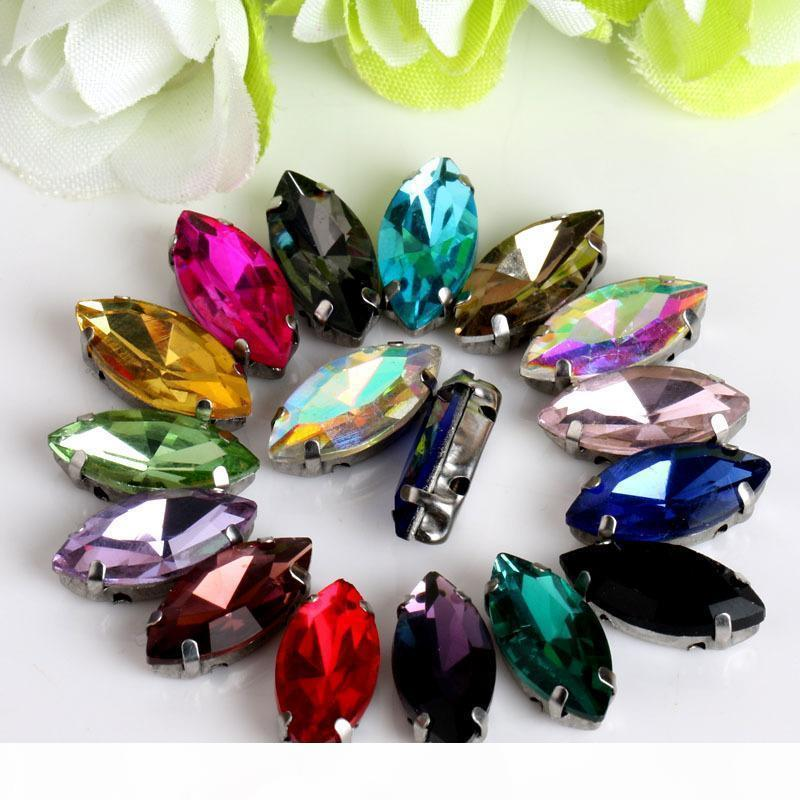 200pcs 7*15mm Glass Crystals Flatback Rhinestone Sew On Holes Horse Eye Fancy Shape Strass Stones For Clothes Dress Crafts