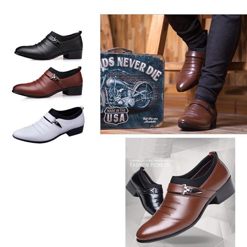 Robe Hommes Chaussures en cuir PU Mode Hommes Robe d'affaires Mocassins Pointy Chaussures Noir Oxford Respirant Chaussures de mariage formel