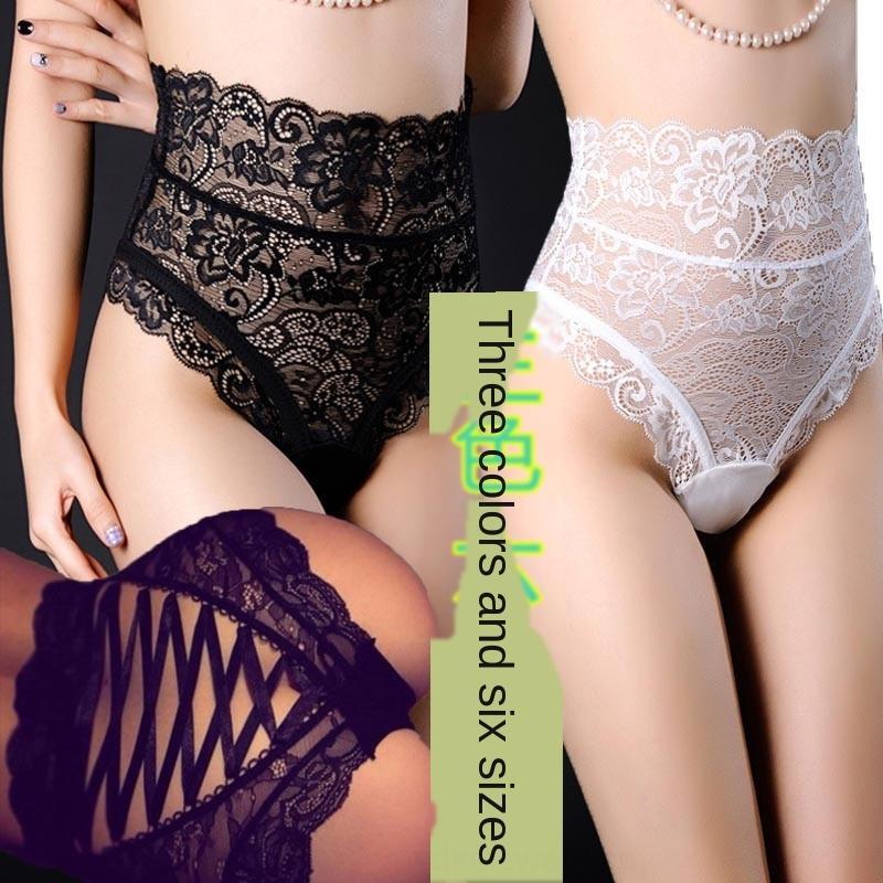 Frauen reizvolle Größe reizvolle Taille Spitzen-up und Unterwäsche Unterwäsche Mitternacht Hohl Slip Unterhose Hüfte Charme XYriJ
