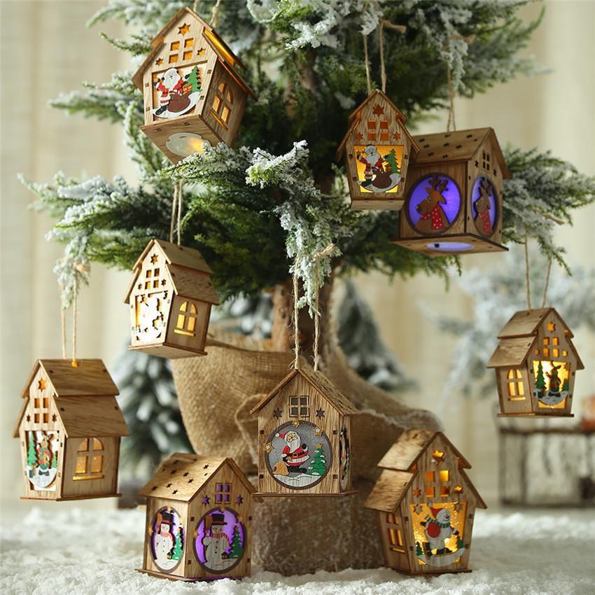 LED Wood House decorazioni dell'albero di Natale per il regalo di natale casa ornamenti d'attaccatura della luce leggiadramente nuziale della Navidad