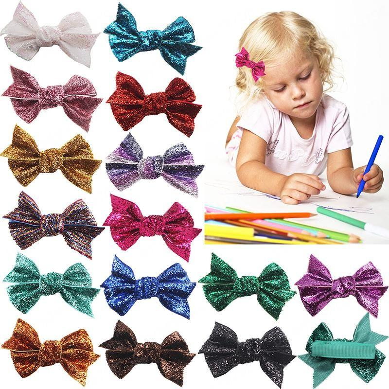 Bow Sequins Hairpin bonito Bebés Meninas Barrettes moda filhos Cabelo Boutique Clipe Crianças Cabelo Acessórios 15 cores Bangs clipe