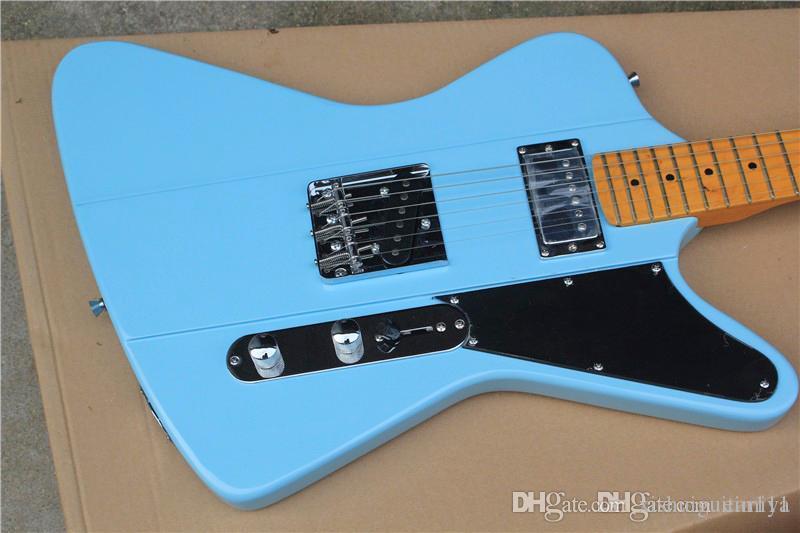 Azul / Amarelo Da Guitarra Elétrica com Battipenna Preto, Amarelo acero Manico di chitarra, FERRAGENS Cromadas, oferecendo personalizados Serviços