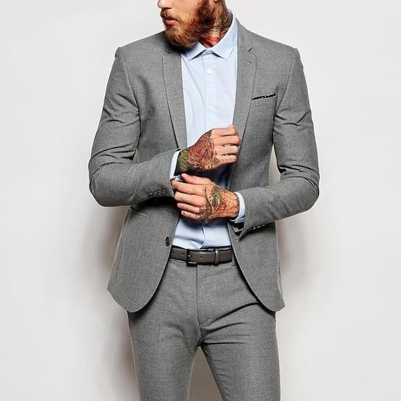 Trajes para hombre Blazers elegante Slim Fit Boda gris para hombre Chaqueta hecha a medida con pantalones Groom Traje Blazer Último abrigo Pantalón DISEÑOS DE TUXEDO