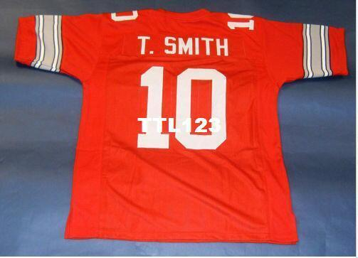 Erkekler ÖZEL Ohio State Buckeyes 10. TRUVA SMITH ÖZEL STİL JERSEY KIRMIZI Koleji Jersey boyutu s-4XL veya özel herhangi bir ad veya numara forması