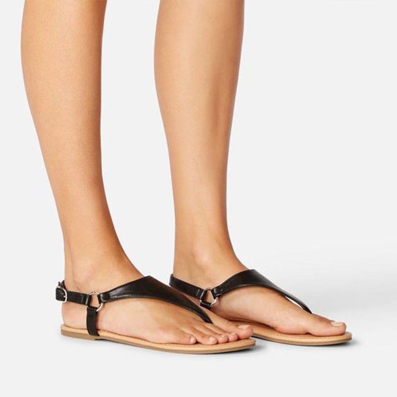 Casual tornozelo da bracelete Femmes Thong Sandales Ladies Clipe Toe Listrado Verão Dropshipping Sandálias Mulheres PU Leather Flat Shoes