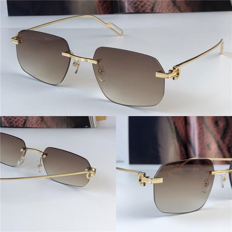 Gafas de sol al por mayor más vendidas 0113 Ultralight Irregular Sin marco Retro Avant-Garded Design UV400 Lentes de color claro Lentes Decorativas Gafas