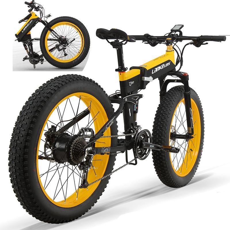 Plegable 1000W 48V de 26 pulgadas plegable bicicleta eléctrica plegable Alcance máximo 50 kilometros E-bici para adultos con batería de litio de 13Ah