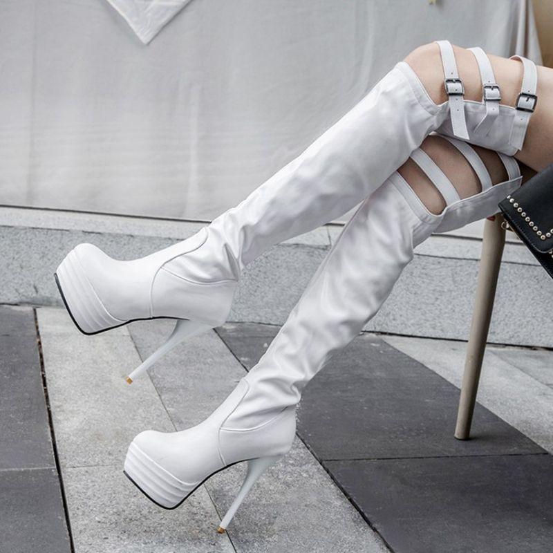 Diz çizme Platformu yükseği Heels13.5CM Uzun Çizme Kadınlar Kış Siyah Bacak Yüksek Lady Büyük boyutunu Üzeri 32-46 Ayakkabılar 09-26