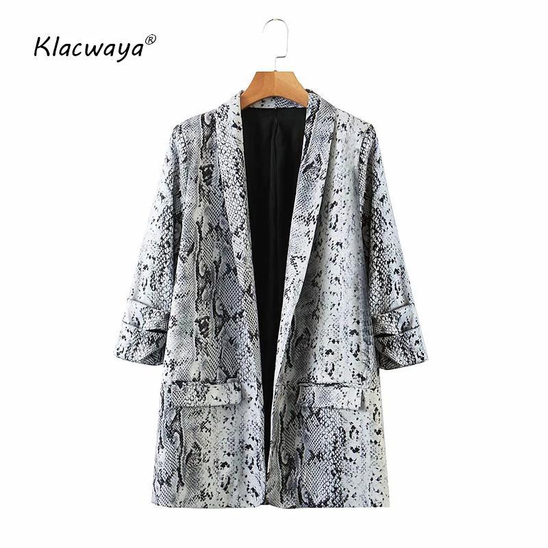 Abiti da donna Blazers Klacwaya Women 2021 Fashion Serpentine Print Vintage Golden Blazer Coat Ladies Manica Lunga Tasche Abbigliamento femminile Capispalla