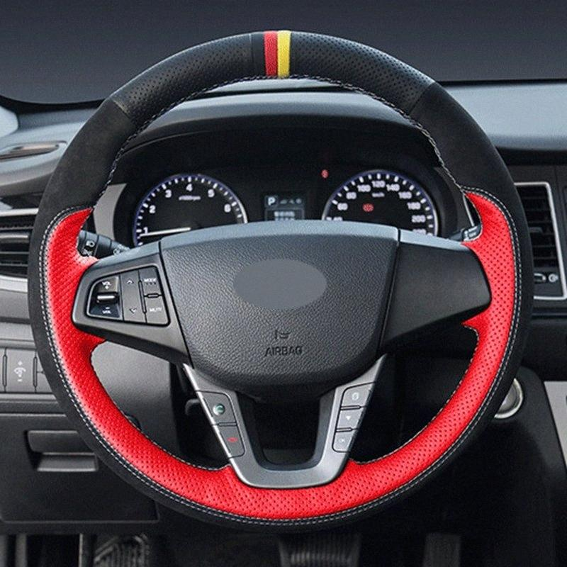 DIY Black Artificial Leather Hand Stitched Car Steering Wheel Cover For Mistra 2013 2014 HXeA#
