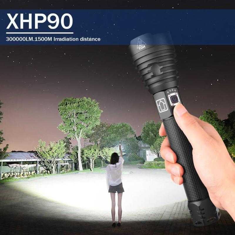 Poderosa táctica XHP70 XHP90 LED recargable 18650 26650 XHP90.2 USB antorcha XHP50 la luz del zumbido